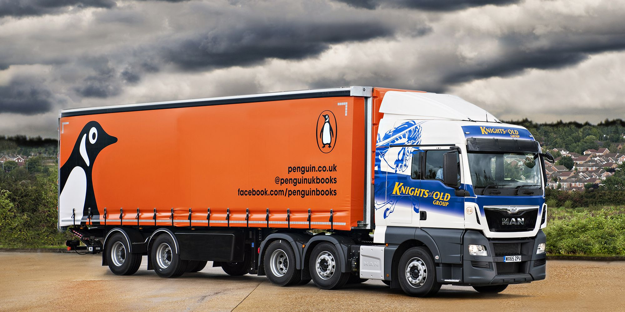 A Knights of Old truck with a custom Penguin Random House trailer