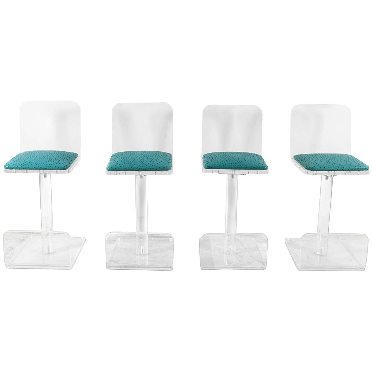 set of four lucite bar stools by karl springer