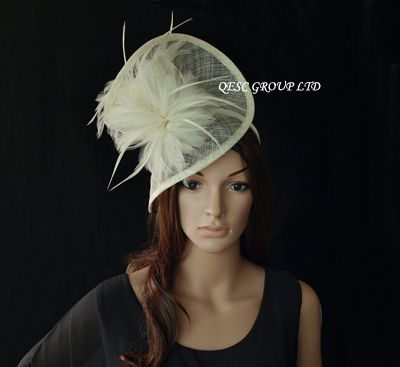 Ivory Cream Dress Sinamay Feather Fascinator Hat 1448290184 Alifascr 005