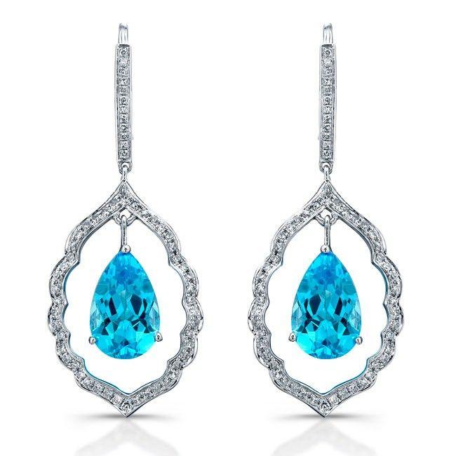 14k White Gold Pear Shaped Blue Topaz Diamond Earrings, $1,665