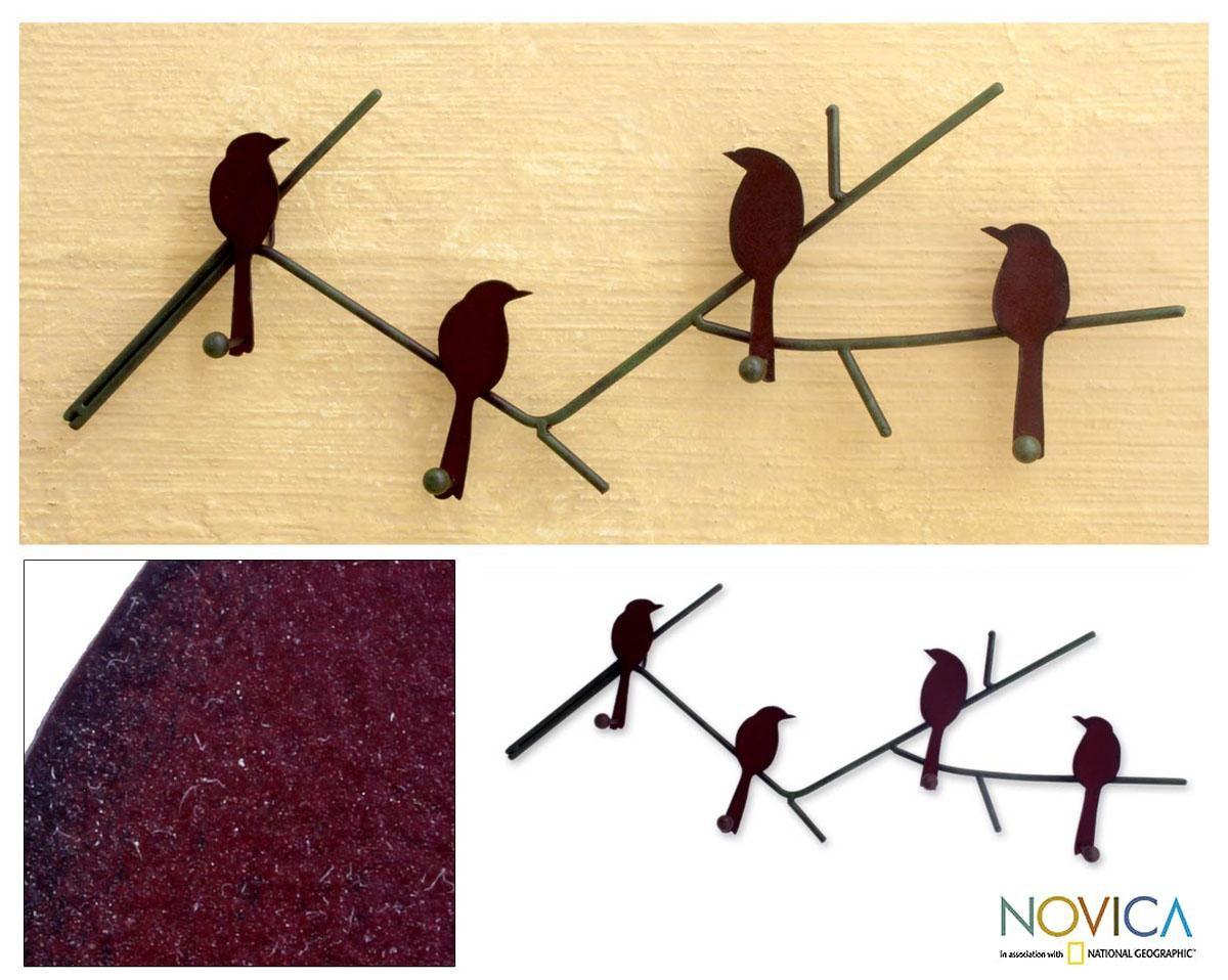 Iron \'Birds On Winter Wood\' Key Holder (Mexico) - Overstock ...