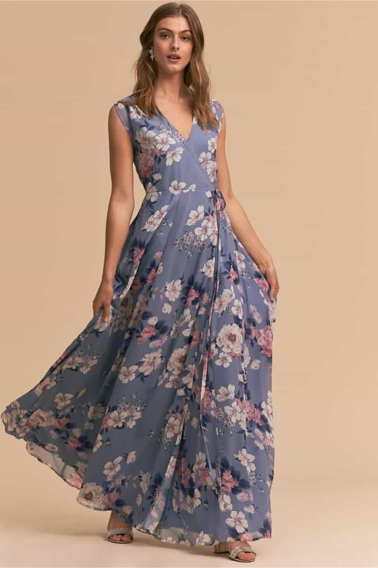 What Should A Guest Wear To A Rustic Wedding Rustic Dresses Guest Attire Floral Wrap Maxi Dress