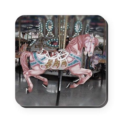 Pretty carousel horse Square Coaster on CafePress.com