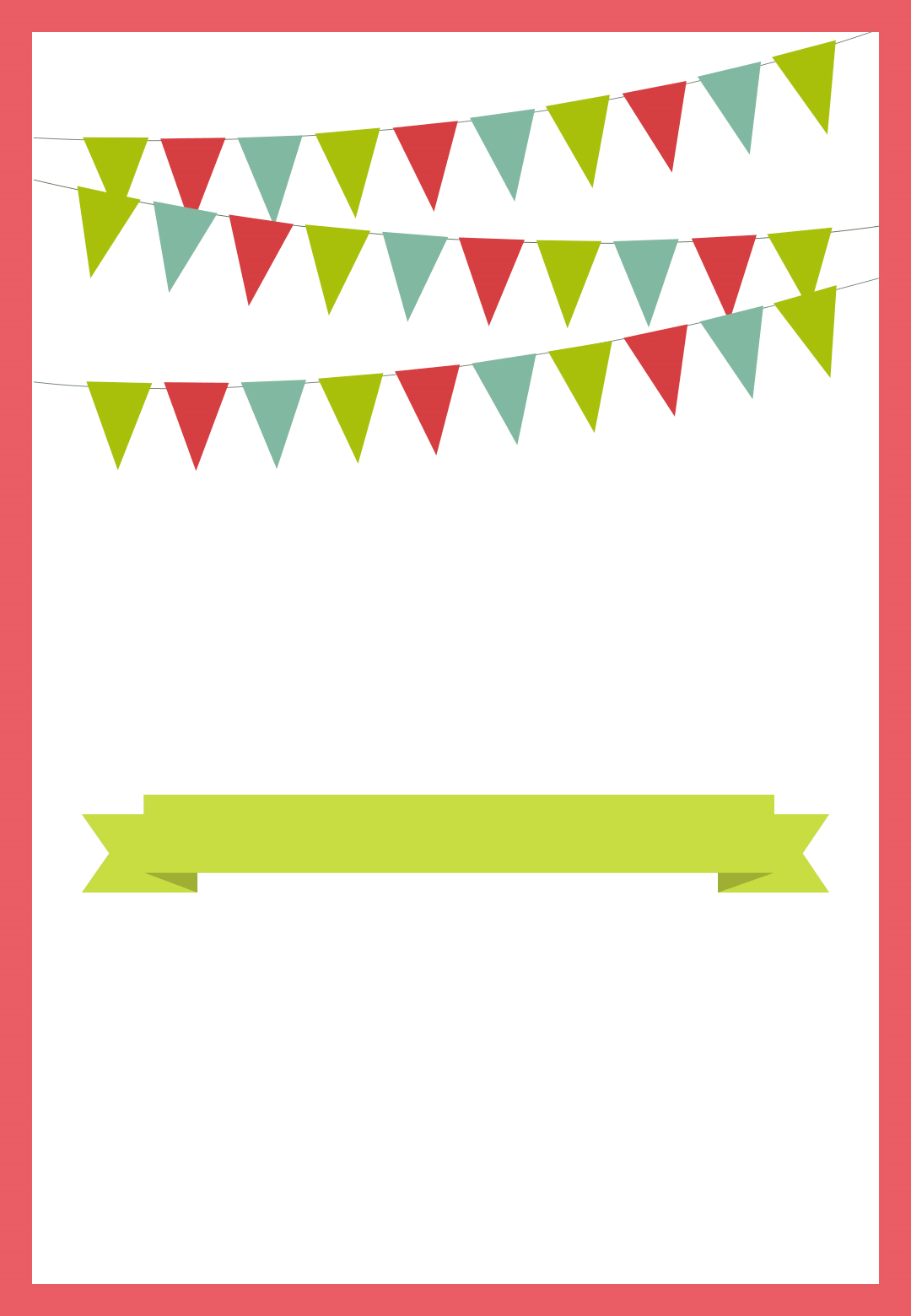 Beautiful Pennants And Ribbon Red   Free Printable Party Invitation Template |  Greetings Island