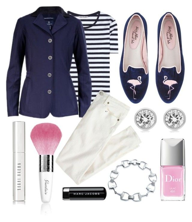 """""""navy & pink stripes"""" by eqlmag on Polyvore featuring Acne Studios, Michael Kors, Bling Jewelry, Christian Dior, Bobbi Brown Cosmetics, Marc Jacobs, Guerlain, J.Crew, Spring and ootd"""