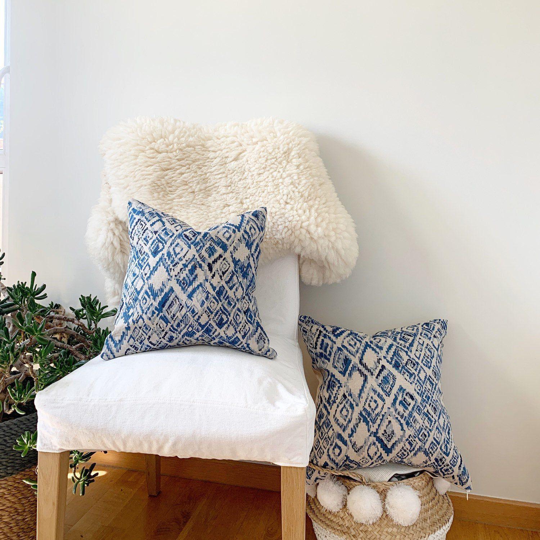 2 navy blue pillow ikat small chair