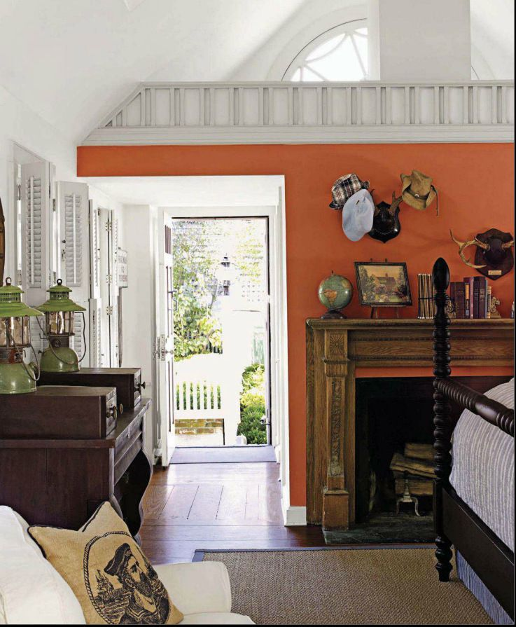 Traditional Bedroom With Pumpkin Orange Walls Featured In