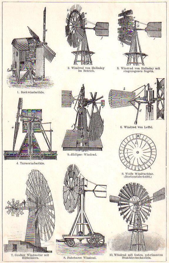 Original 1894 vintage WINDMILL WINDMILLS German engraving print (Brockhaus) | eBay