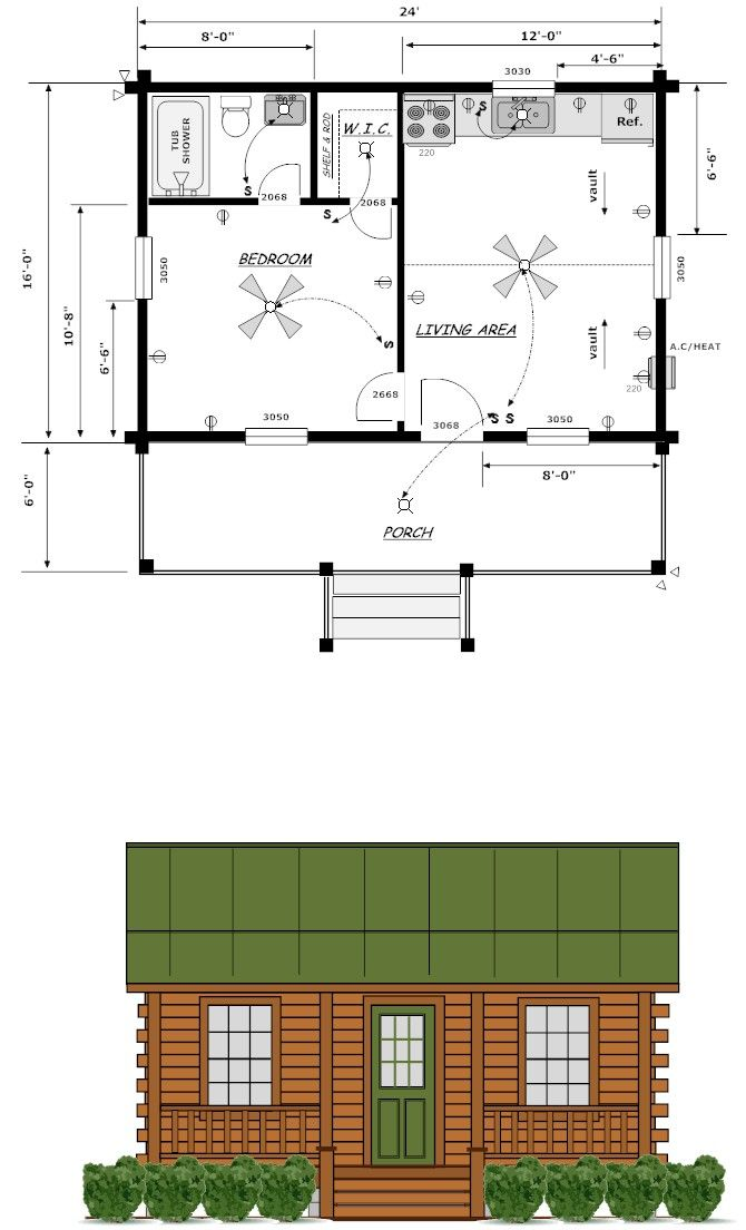 16x24 house plans louisiana cabin co finished exterior for 16x24 garage kit