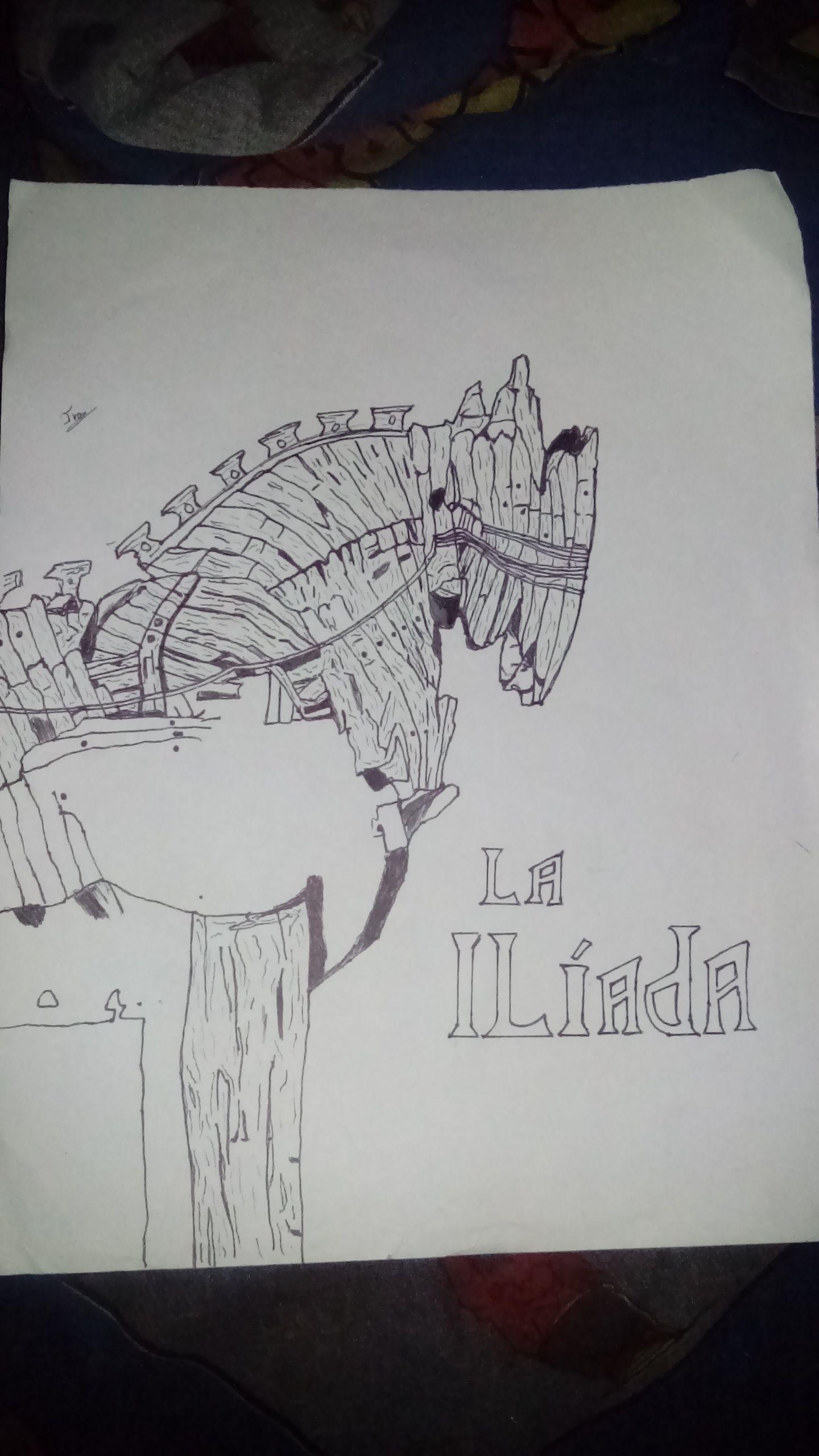 Dibujo La Iliada Caballo De Troya Dibujos Caballo De Troya