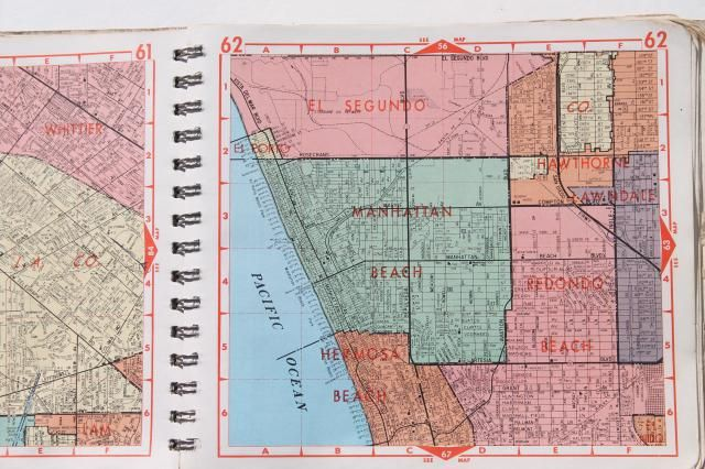 Road Maps Street Atlas Map Books For Los Angeles 1960s 70s 80s Atlas Map Map Atlas