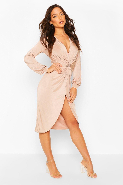 Disco Slinky Twist Front Wrap Dress Boohoo In 2020 Wrap Dress Dressed Stone Dresses