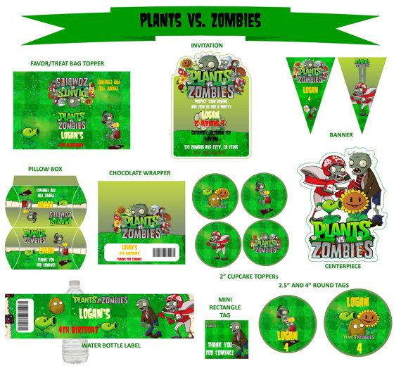 Plants vs zombies personalized birthday party set plants for Table zombies pdf