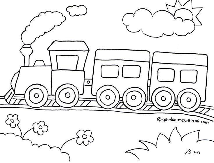 Gambar Mewarnai Gambar Kereta Api Hitam Putih