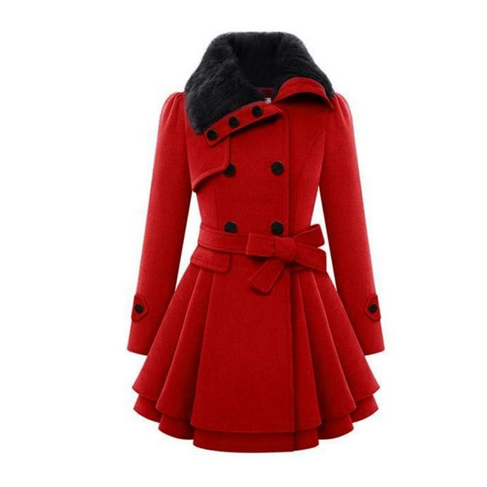 Stylish Women Trench Casual Long Sleeve Faux Fur Lapel Double-Breasted Overcoat Thick Wool Coat Lady Winter Warm Outwear