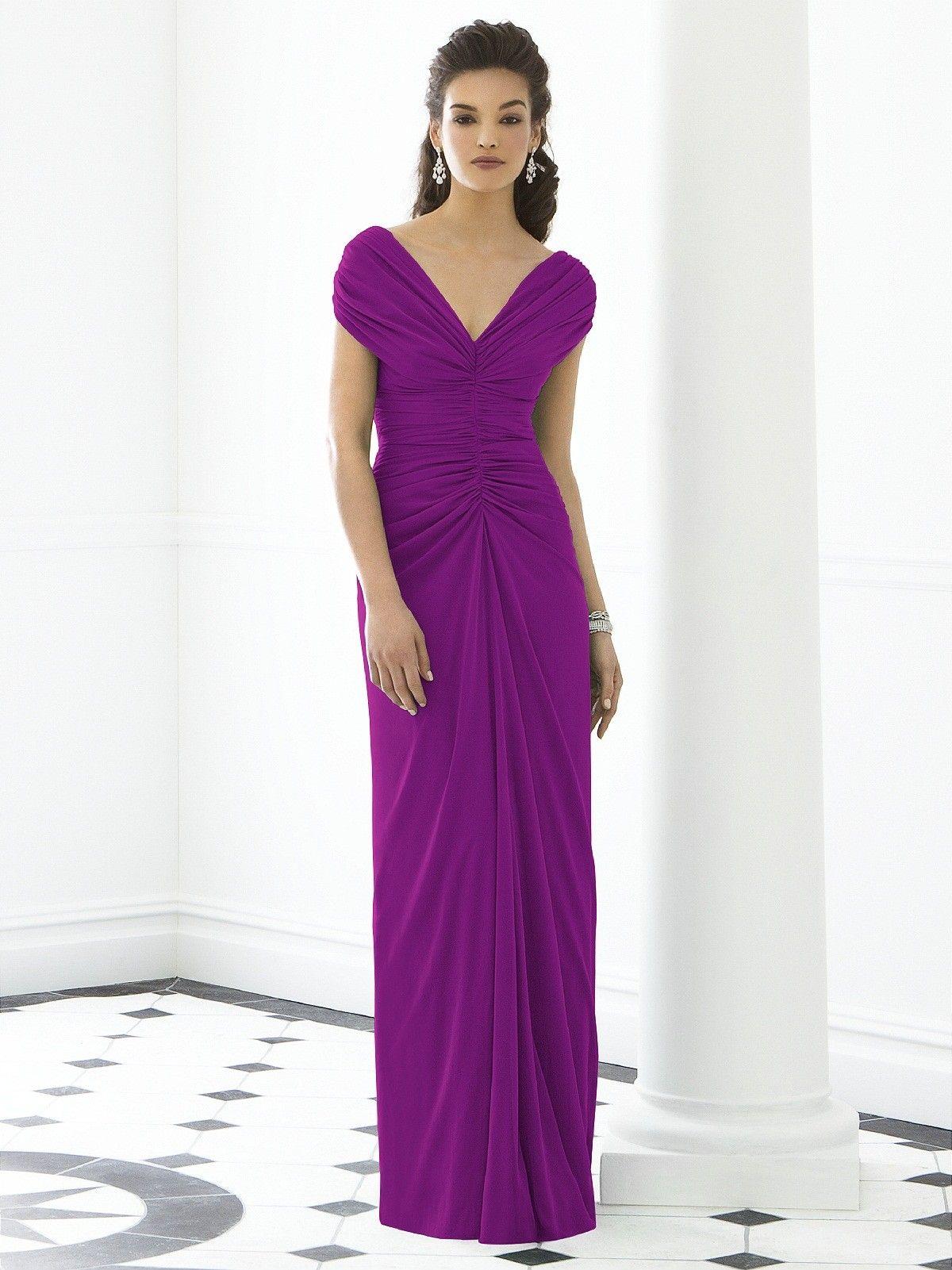 Short-Sleeve Ruched-Ruffles V-neck Purple Empire Zipper-Back Column ...
