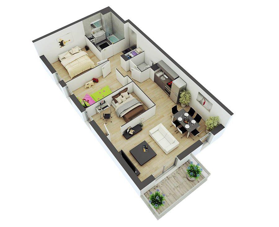 2 Bedroom Apartment Interior Design แปลนบ้านฟรี 2 ห้องนอน  3 Bedroom  Pinterest  Bedrooms And House