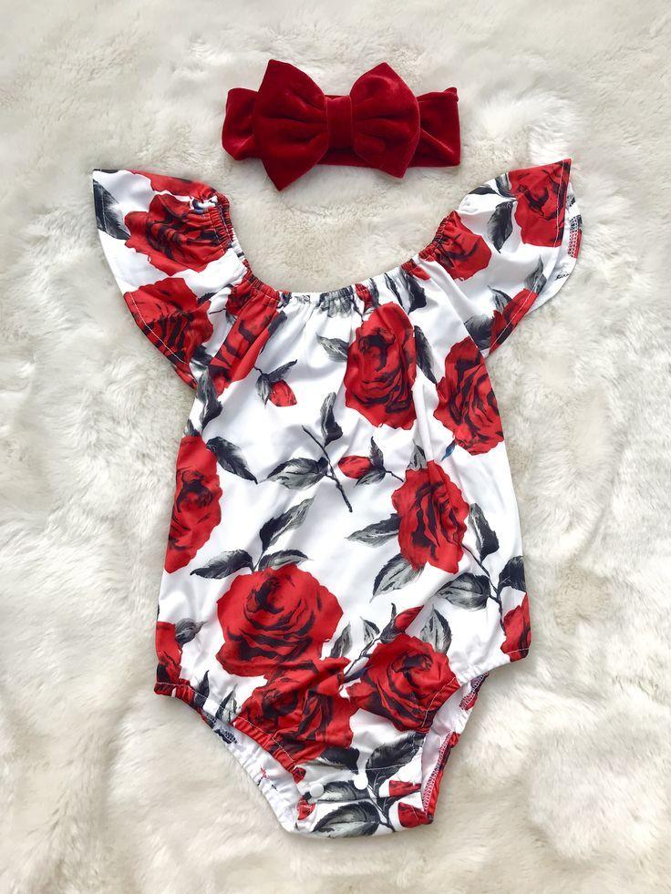 Baby-roter und weißer Spielanzug - Baby-Blumen-Spielanzug - Baby-personalisierter Spielanzug baby girl clothes #babygirlnames