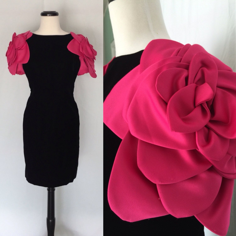 Vintage Victor Costa Black Velvet Cocktail Dress with Rose petal Sleeves by AntoinettesCake on Etsy