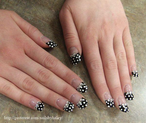 Fiberglass wrap on nail tips + Clear base coat + Black polish + ...