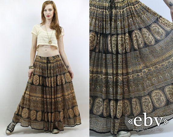 5dd8621be12 Vintage 90s Cotton Gauze Indian Skirt XL 1X Festival Skirt Hippie ...