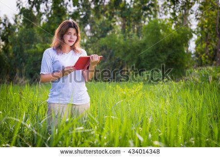 Young beautiful happy woman reading a book in green field under morning sunlight.