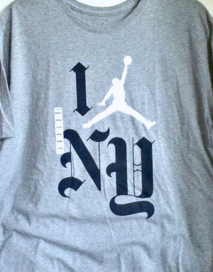 7a972a7e7725db NWT NIKE AIR JORDAN I LOVE NEW YORK NY GREY NAVY WHITE T-SHIRT 845832-063  3XL  Jordan  GraphicTee