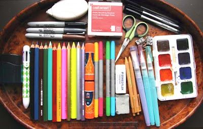 Travel Journal Supplies- I think I would add some chalk pastels and ditch the kneaded eraser.