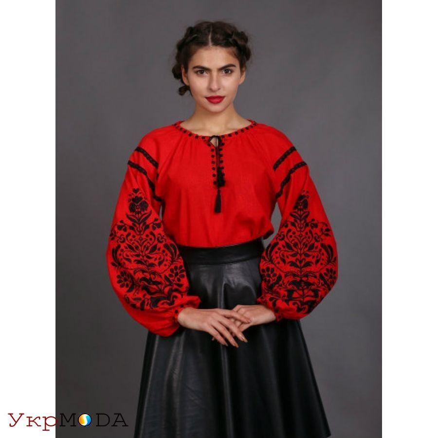 Впечатляющая ярко-красная вышиванка в стиле бохо из льна с растительным  орнаментом для женщин ( a44c1c94a41f4