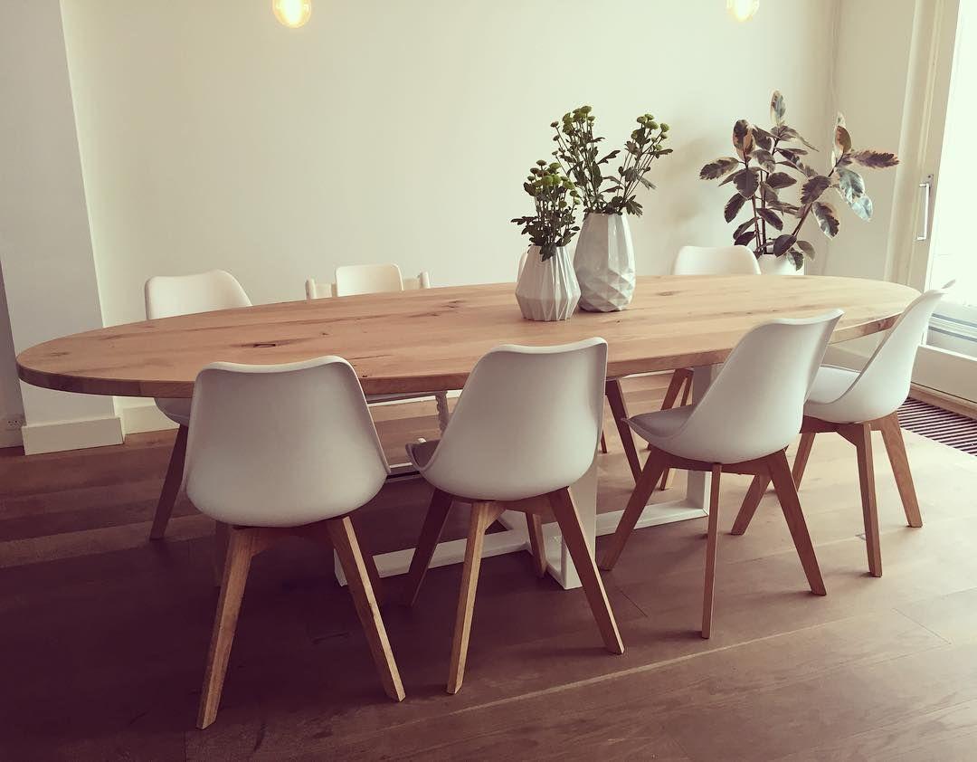 Voorkeur Ovale tafel met massief eiken blad - vol rustiek - witte stalen #UB28