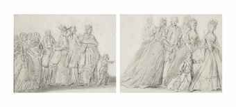 The arrival of the Royal Family at the Tuileries, ca. 1789 black chalk sketch, French school