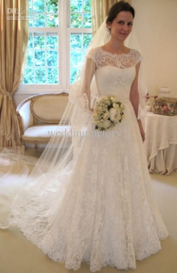 DiscountHot Sale Charming Bateau Neck Lace Wedding Dresses A Line Cap Sleeves Bridal Gowns With Sash Bow Sweep Train Custom Made From Weddingfactory, $175.38   DHgate.Com