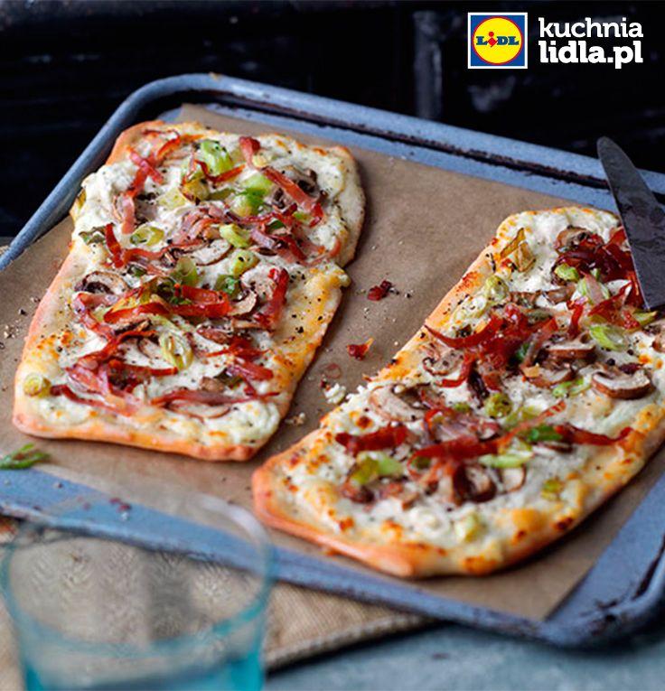 Tarta Flambee Z Pieczarkami I Boczkiem Przepis Recipe Food Vegetable Pizza Recipes