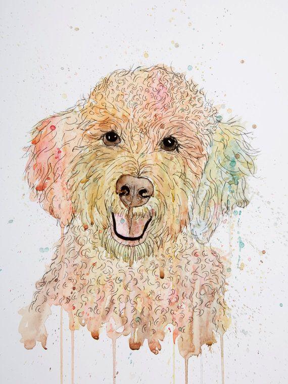 Cockapoo dog painting very cute ORIGINAL by DanielleRoughanArt