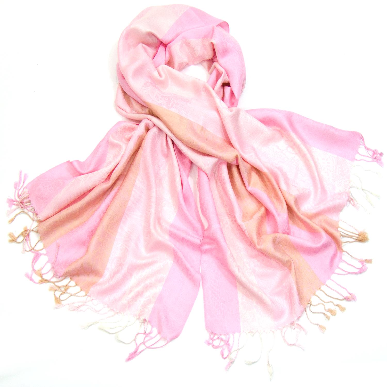 Etole pashmina rose motifs tissés Kara #étole #pashmina #rayures #rose #mesecharpes.com