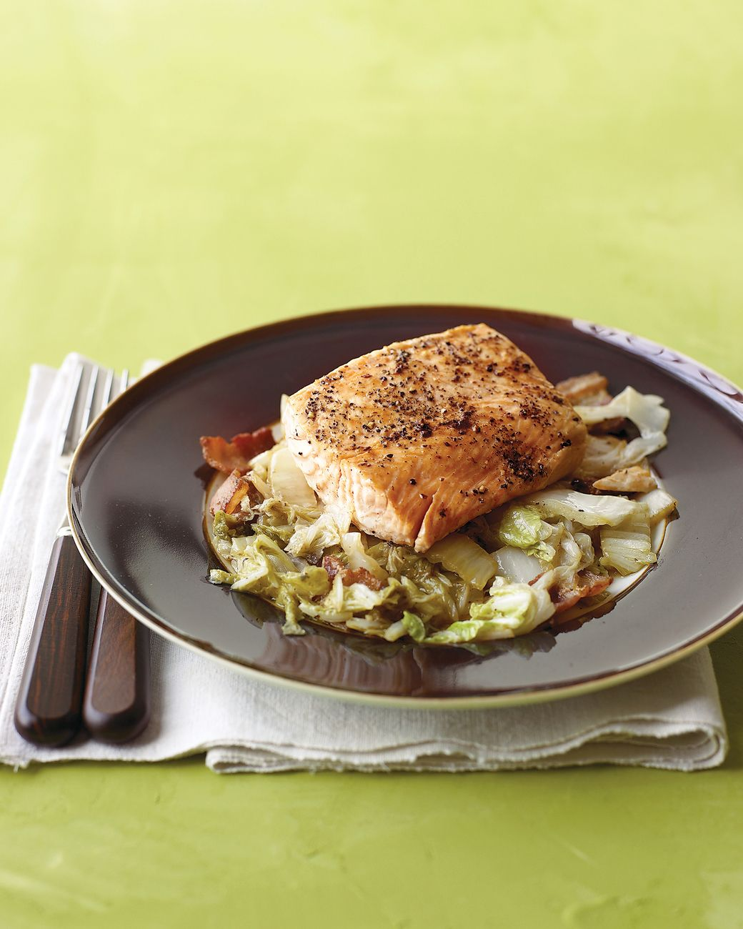 Also known as Chinese cabbage, napa cabbage is delicious on top of this salmon that is cooked in a skillet.