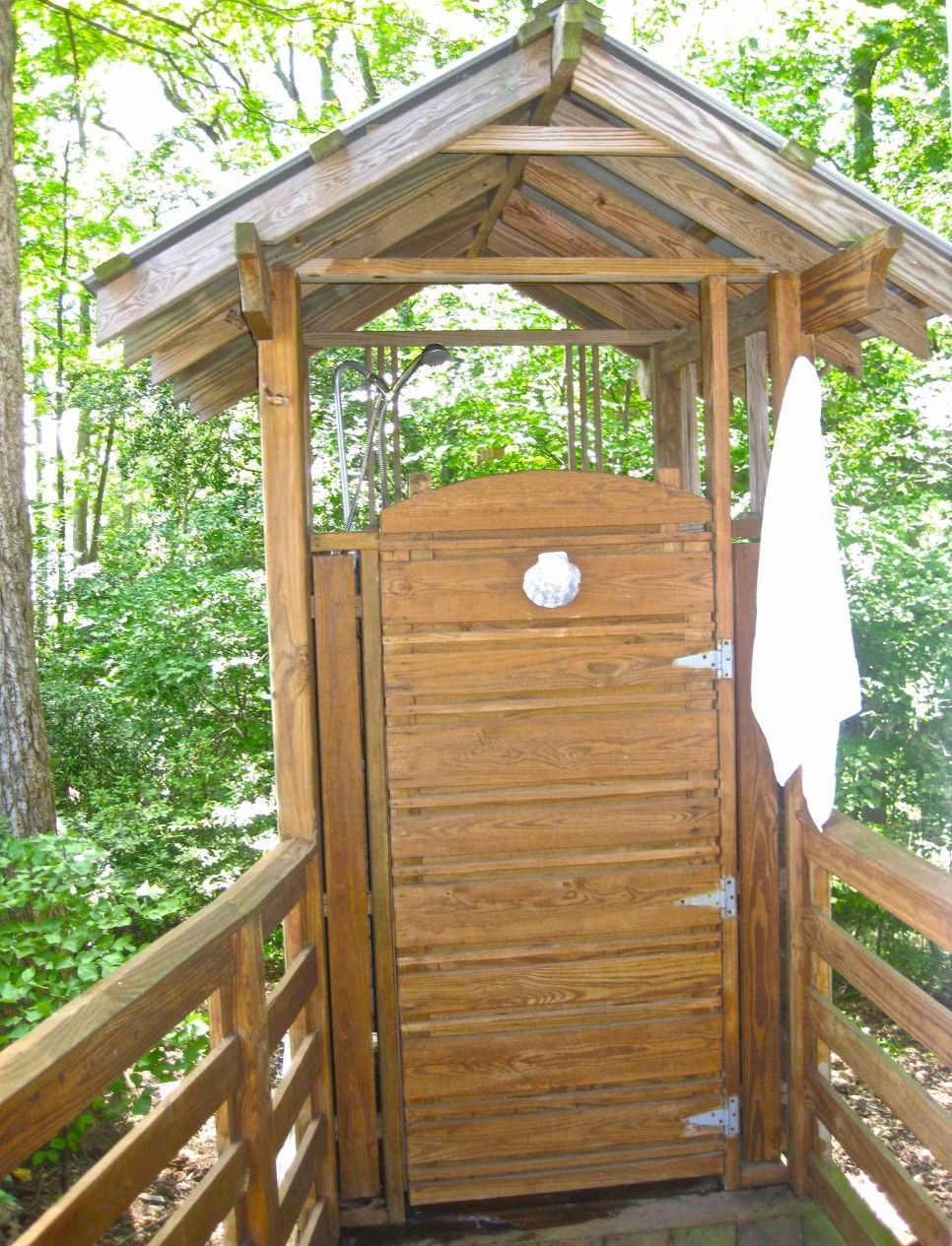 Exceptional Bathroom, Wooden Traditional Outdoor Shower Enclosure With Wooden Door  Canopy And Metal Roof Also Wooden