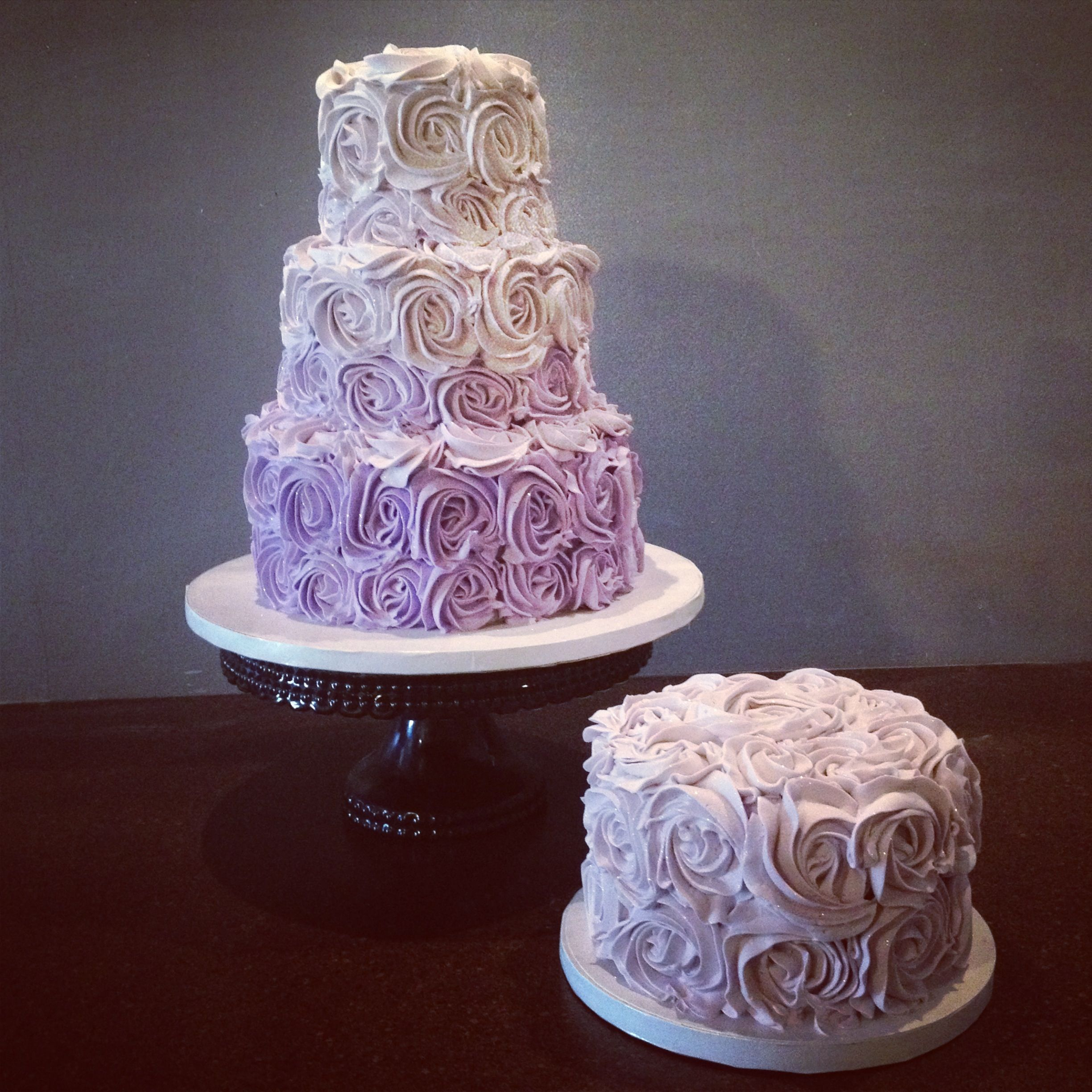 Purple Ombré Buttercream Rose Birthday Cake Cami's Cake Co