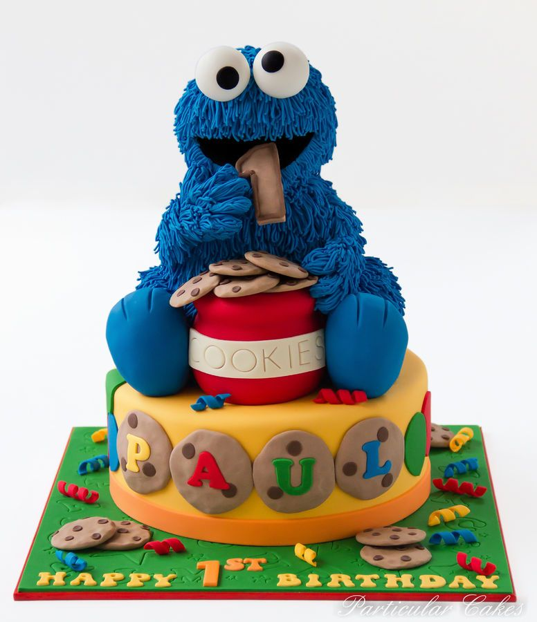 Cookie Monster eating out of the cookie jar birthday cake Amazing