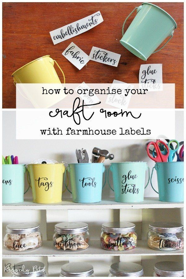 How To Organise Your Craft Room with Farmhouse Craft Room Labels images