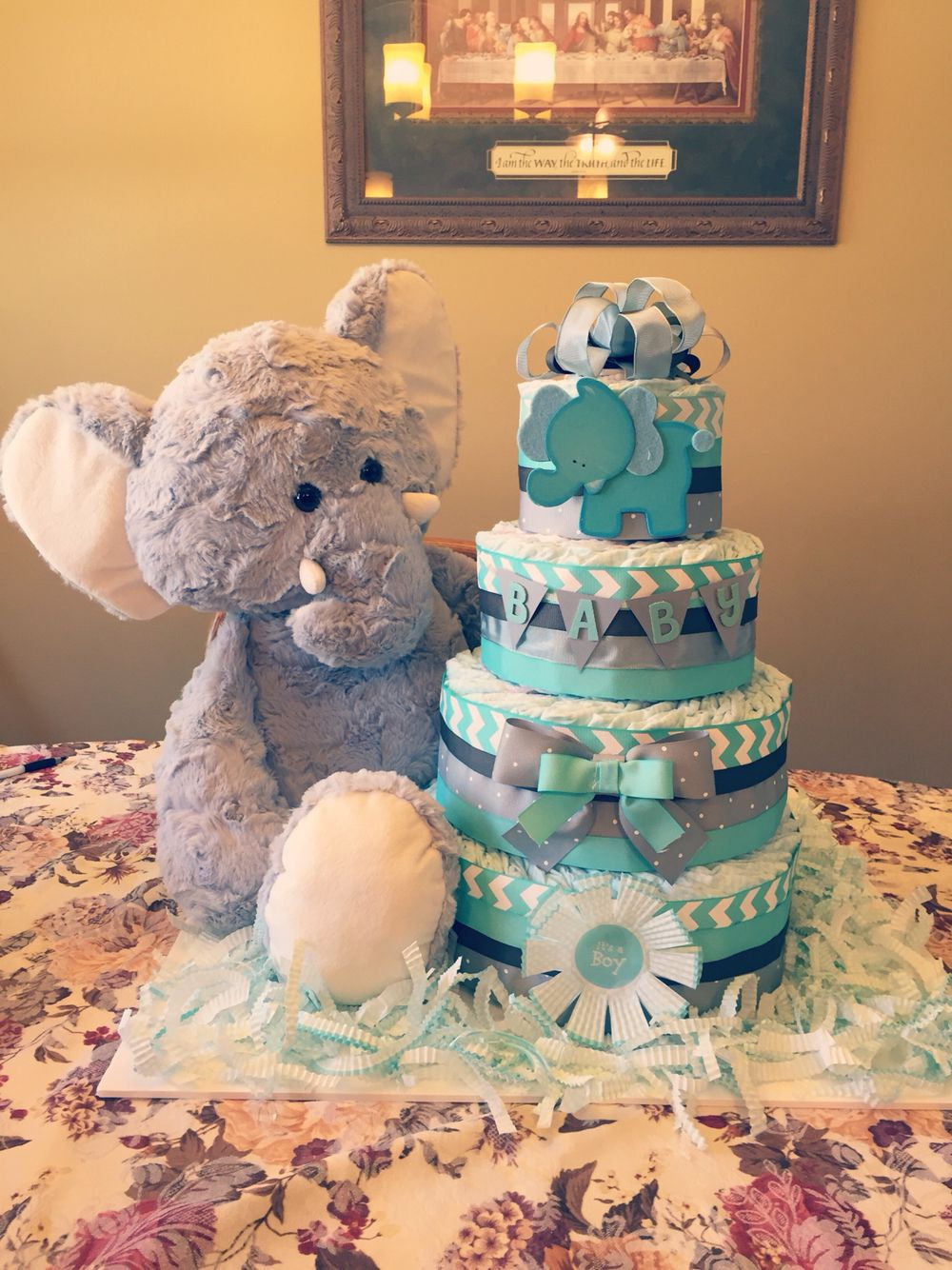 Blue Elephant Baby Boy Diaper Cake More With Images Baby Boy