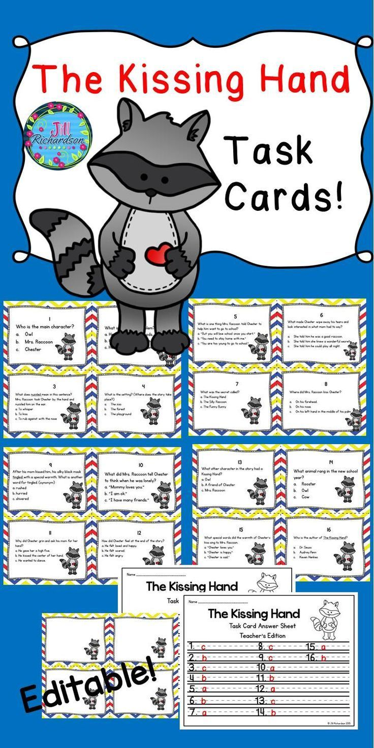 The Kissing Hand Task Cards! (Reading Comprehension)   Back to ...