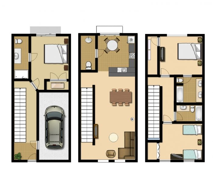 Three Story Condo With Garage And Separate Guest Room Floor Plans Google Planos De Casas Casas Arquitectura
