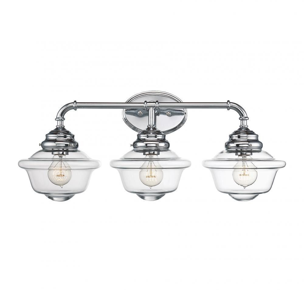 Chrome schoolhouse 3 light bathroom fixture bathroom fixtures off fairfield chrome 26 inch three light bath fixture by savoy house timeless schoolhouse style is given a contemporary twist with the savoy house arubaitofo Image collections
