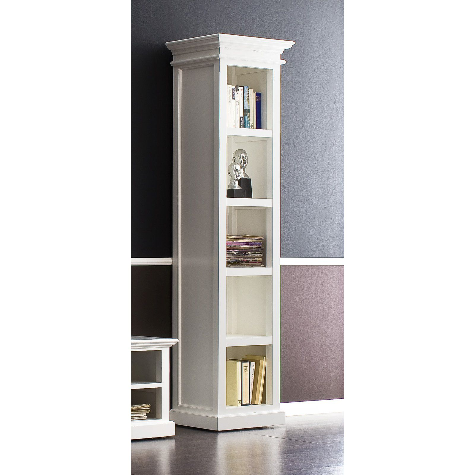 Halifax Solid Mahogany Wood Bookcase In White Distressed Finish In 2020 Tall Narrow Bookcase Bookcase Bookcase Storage