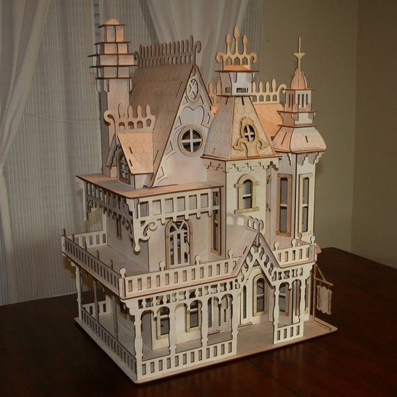 Large victorian dollhouse kit maison miniature maisons for Construire maison 78