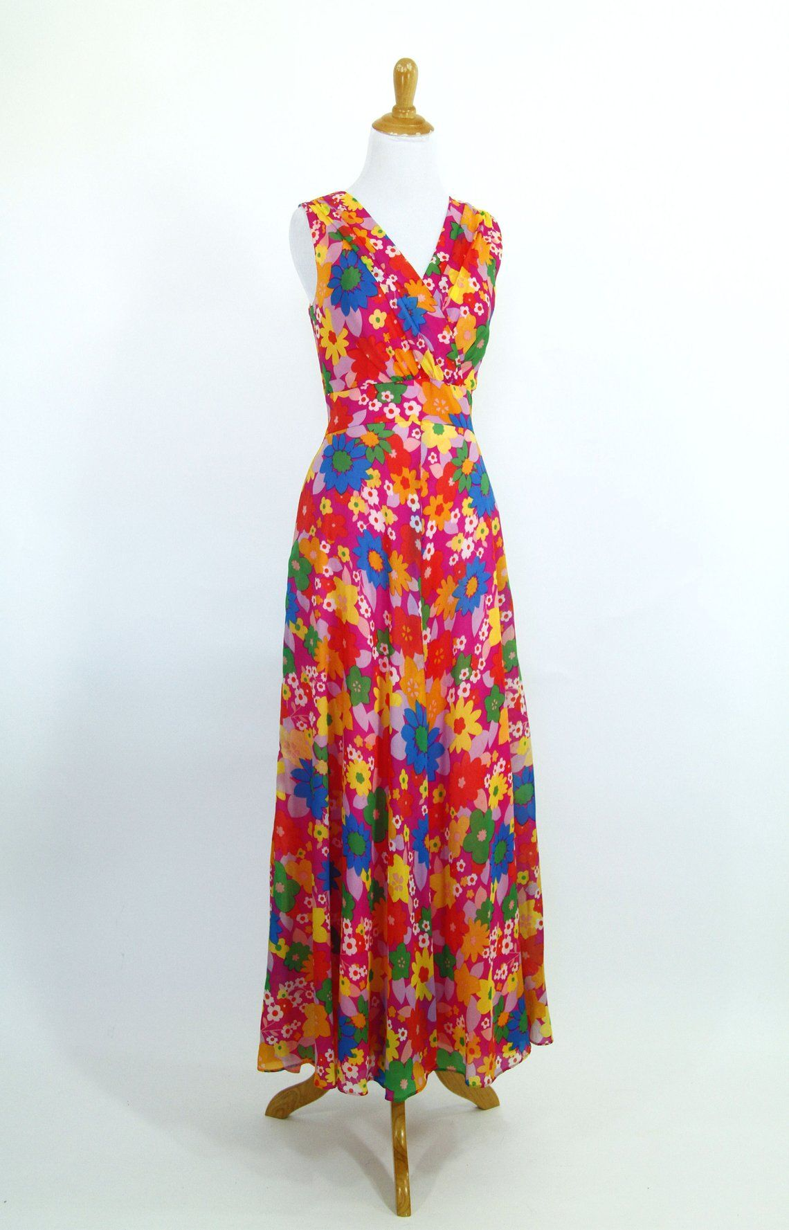 8e0f7f4529 Vintage 1960s Dress 60s 70s Floral Print Chiffon Maxi Dress