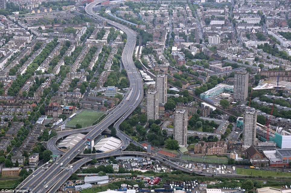 The A40 Westway Winds Through West London Residential Housing Of Shepherds Bush And Ladbroke Grove