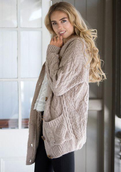 Brown Sweater Coat | Down Coat