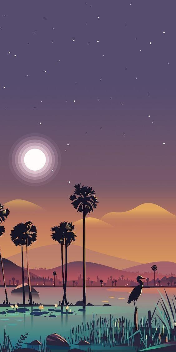 sunset/trees/flamingo/mountain/digital art/architecture/night/abstract/illustration